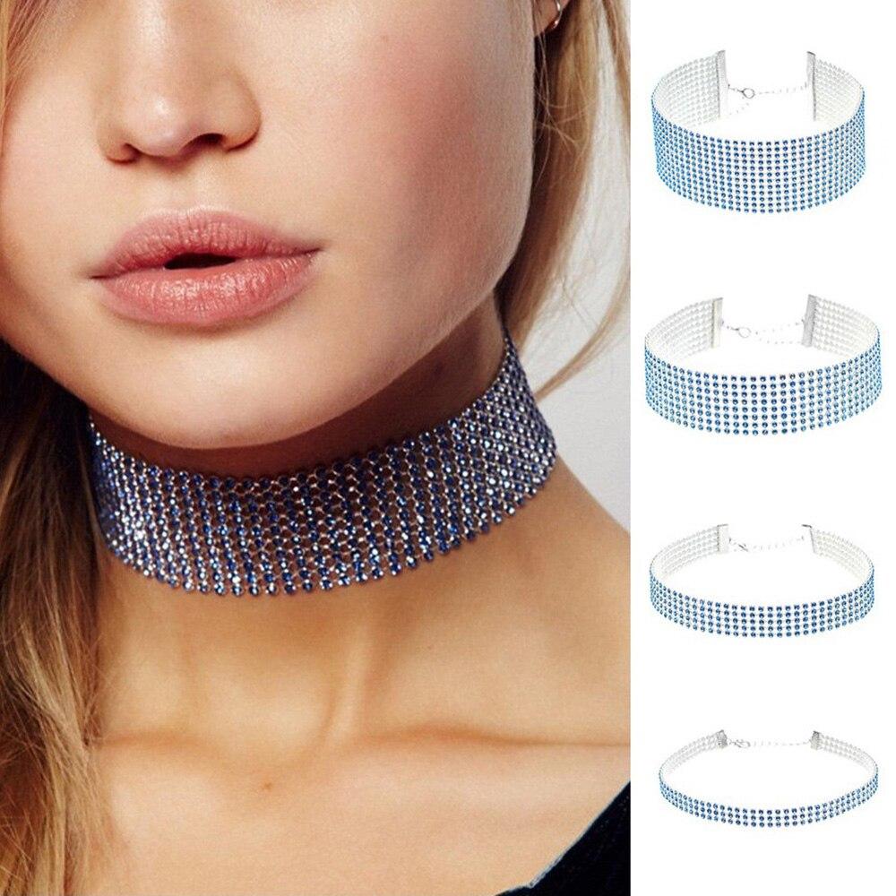 2017 Elegant Shining Dazzling Rhinestone Diamante Choker Necklace for Women Wide Chocker Collar Bijoux Neck Jewelry Gift XR350 Бюстгальтер