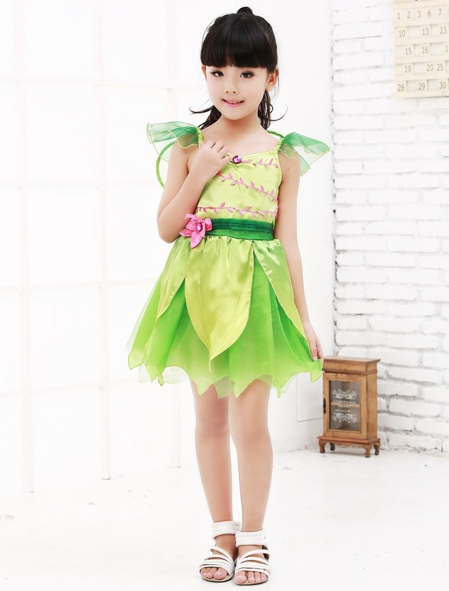 Cosplay Tinkerbell Magic Fairy Tutu Dress Up Princess Girl Birthday Party Dress Green  Fairy Kids Halloween Costume With Wing