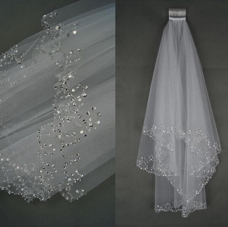 Fashion Wedding Veil Simple Tulle White Ivory Two Layers Bridal Bead Edge Bride Accessories 115cm Short Women Veils With Comb