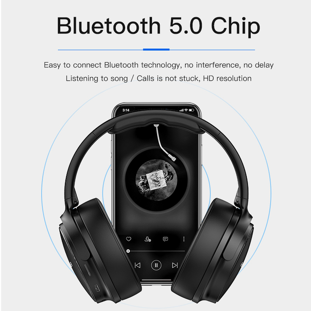 AWEI Budget Bluetooth V5.0 Gaming Headphone Stereo Headset AAC Noise Cancelling With Mic Support TFcard 2