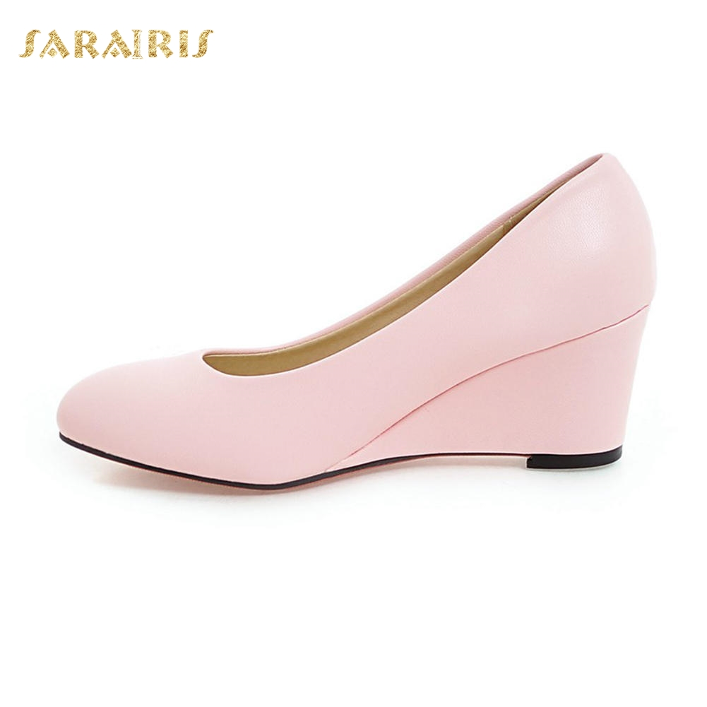 Aliexpress.com   Buy SARAIRIS Women s High Heel Wedge Shoes Woman Slip On Party  Wedding Office Black White Pink Blue Beige Pumps Big Size 33 43 from ... 330f206c78f5