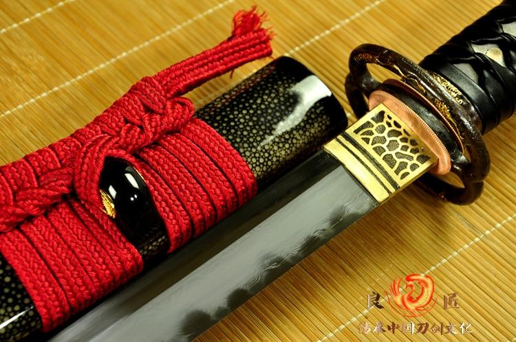 Handmade Clay Tempered Soshu Kitae Blade Japanese Katana Sword Razor Full Tang Sharp Hot in Swords from Home Garden