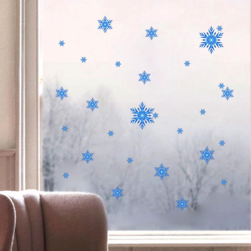 Wall Stickers Glass Sticker Decals For Room Romantic Snowflake