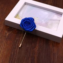 Novo azul real melhor homem noivo boutonniere cetim de seda rosa flor homens buttonhole festa de casamento prom homem terno corsage pino broche