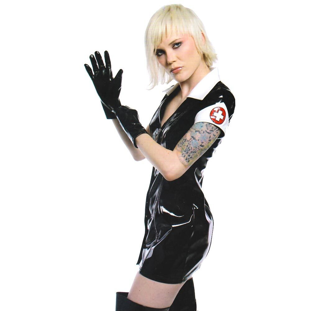 Black leather uniform gloves - Black Pvc Dress Vinyl Latex Sexy Catsuit Pu Leather Lingerie Bandage Mini Dress Halloween Nurse Costume