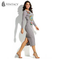 Vintacy Women S Sweater Dress Bodycon Knitted Pullover Round Neck Gray 2017 Modern Fashion Female Girls