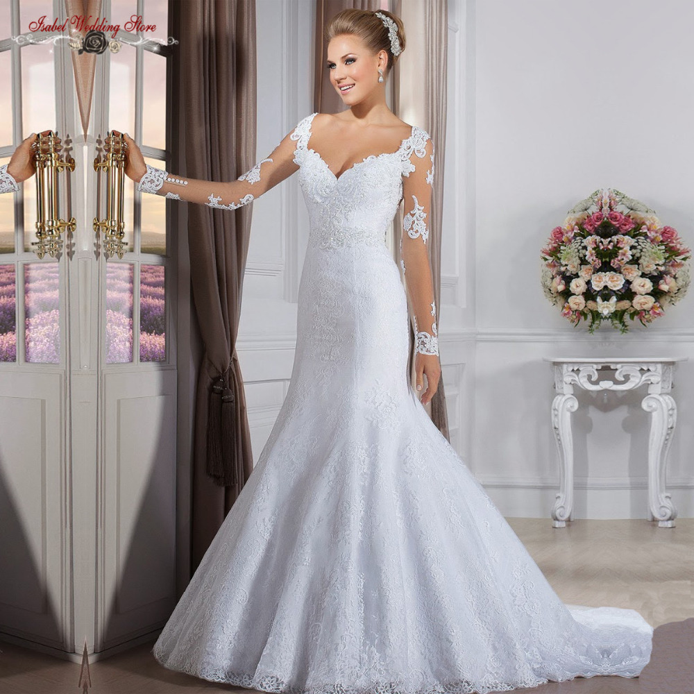Cheap Wedding Gowns With Sleeves: Fast Shipping China Online Store Long Sleeves Mermaid