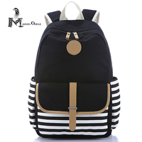 School Canvas Bag Leather Canvas Navy Blue Backpack Book Bag Girl Large Size Women Canvas Black