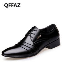 QFFAZ Brand Pointed Toe Leather Fashion Men Business Dress Loafers Shoes Oxford Breathable Formal Wedding Shoes