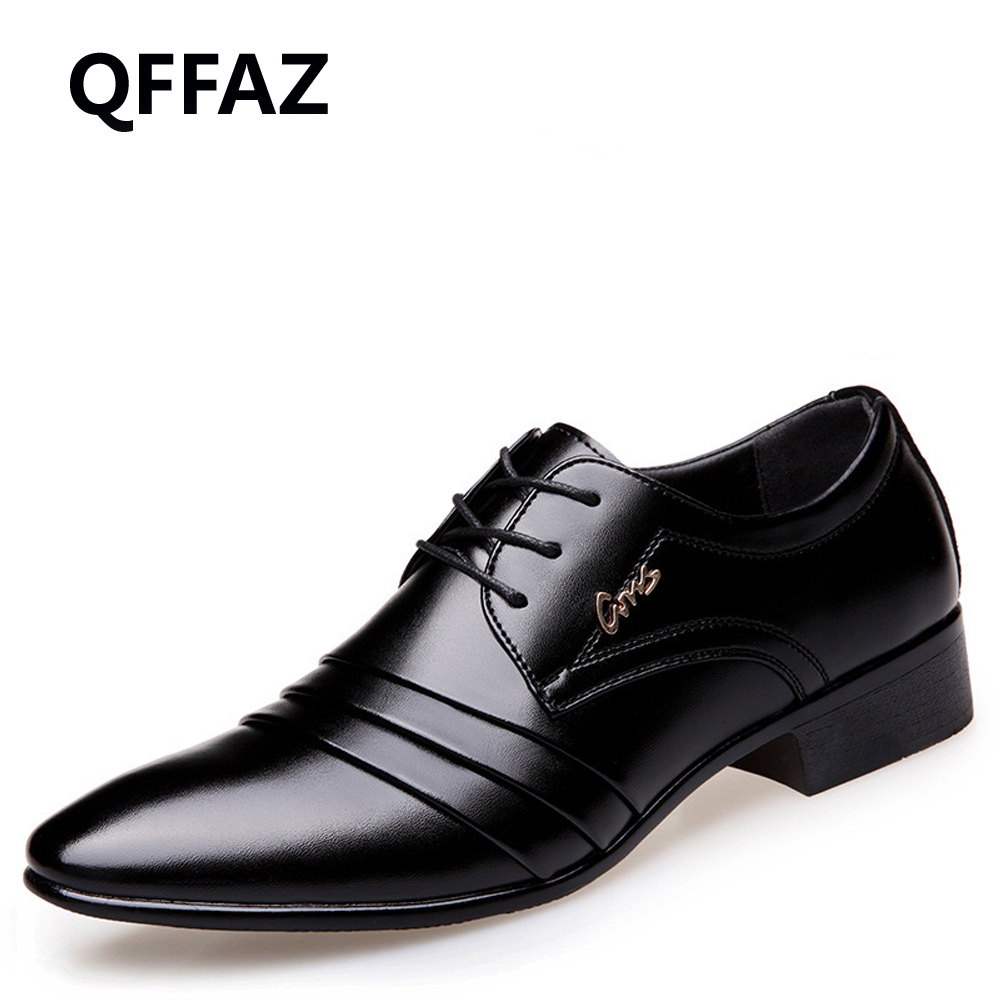 QFFAZ Brand Pointed Toe Leather Fashion Men Business Dress Loafers Shoes Oxford Breathable Formal Wedding Shoes Big Size 38-46