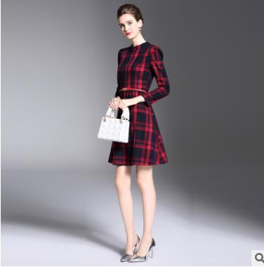 Robe Et Slim Élégant Pour 2018 Nouveau Picture As Longues Printemps Manches Treillis À Vêtements Automne Tempérament Style Femmes zZFYq8Zw