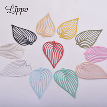 30pcs AB5258 25*42mm Silver leaf Earring Pendant Heart Leave