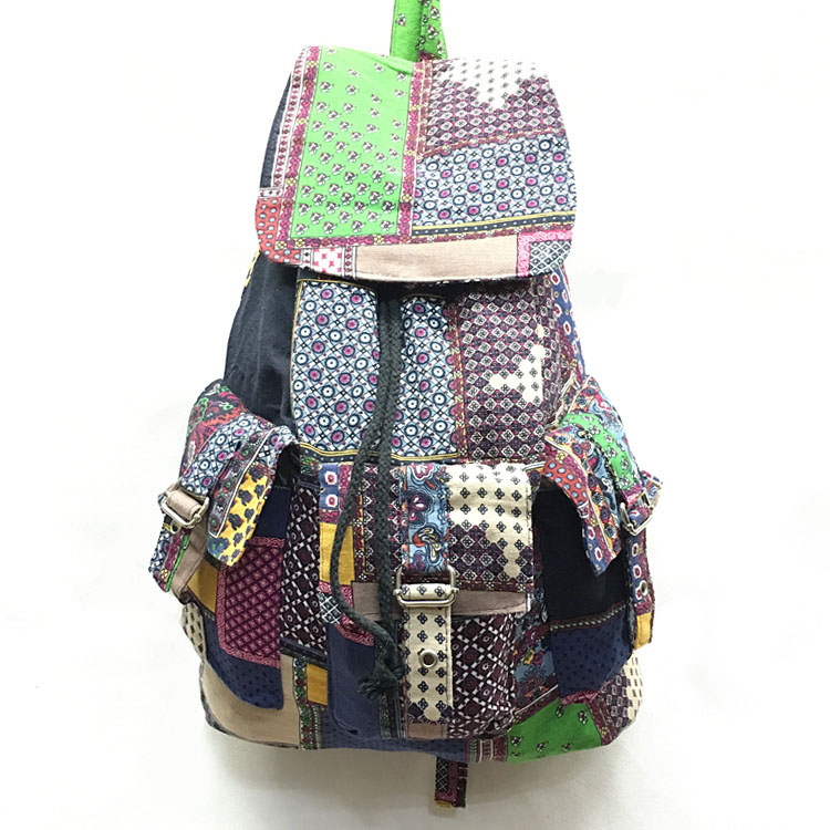 Folk style backpack cowboy cotton cloth shoulder beam with leisure bags