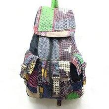 Народная стиль рюкзак ковбой хлопчатобумажной ткани плеча пучка с отдыха сумки