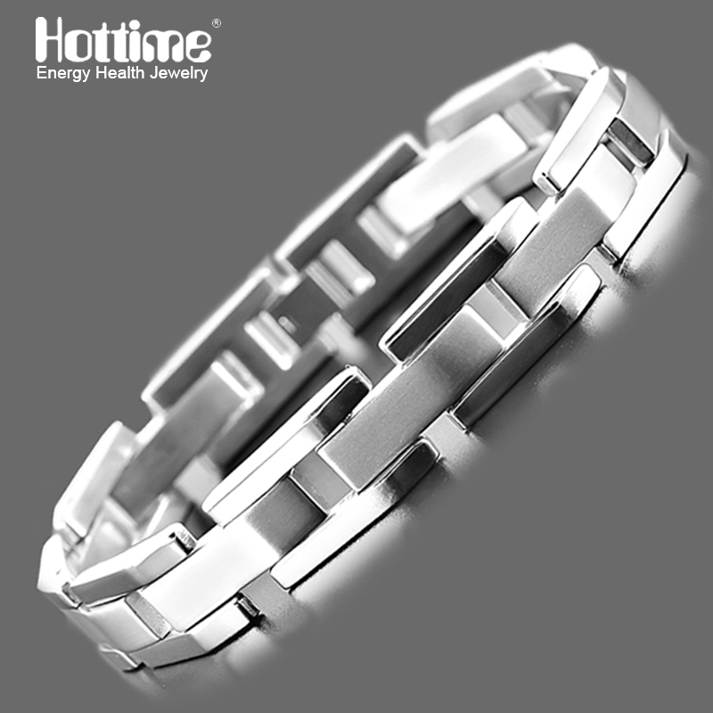 Hottime Fashion Punk Stainless Steel bracelets Bangle Link Chain Plating Silver Bracelet For Mens Jewelry 10178 jiayiqi new mens bracelets stainless steel black silicone bracelets charm bracelet male bangle for men jewelry 2017 silver color