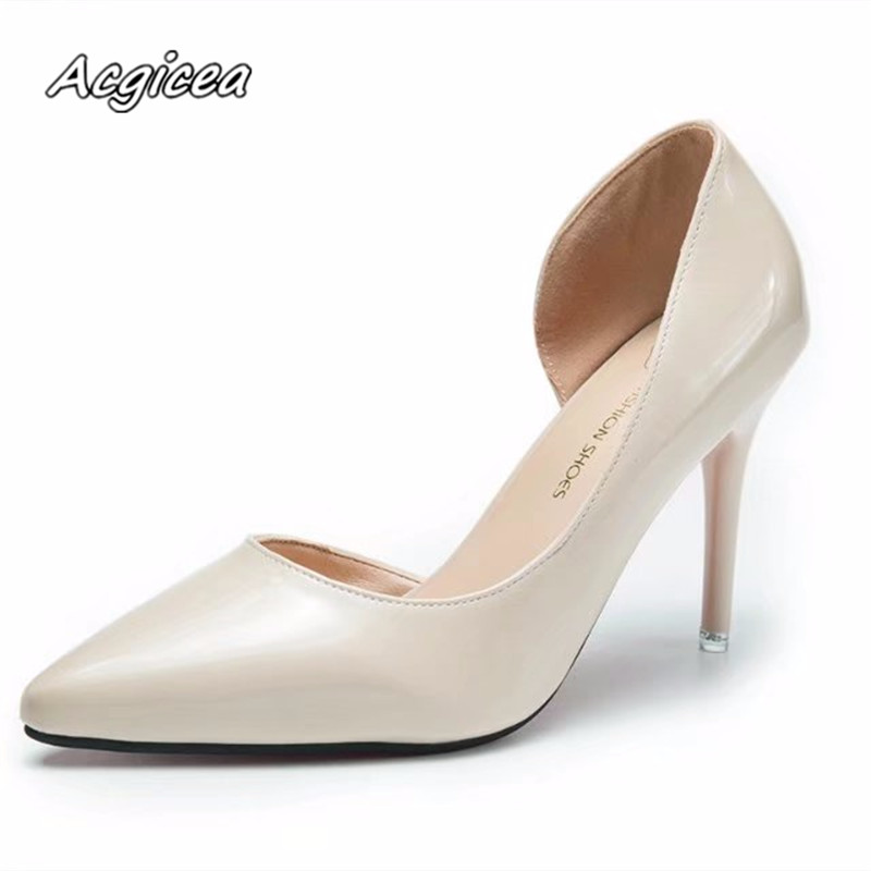 2018 spring with fashion sexy shoes women sexy prom wedding Sandal Side air Thin Heels Pointed Toe Formal Dress Party f040