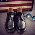 Estilo británico para hombre oxfords brogue atan para arriba los zapatos de cuero negro zapatos pisos a estrenar zapatos planos ocasionales zapatillas moccasines XK102702