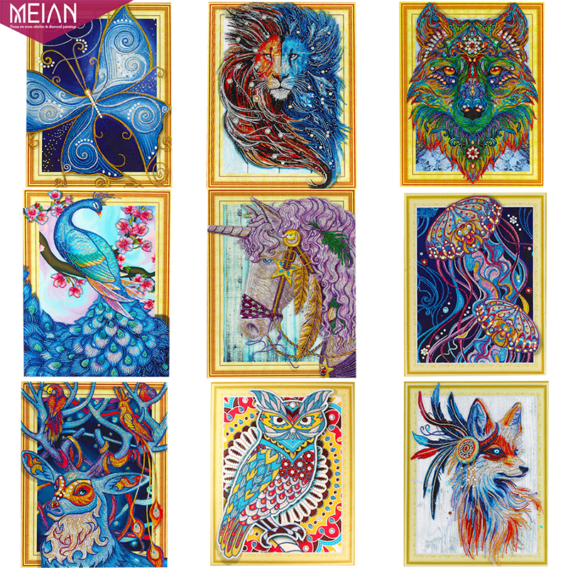 Meian Diamond Painting quot Animals quot 5D DIY Drill Diamond Embroidery Diamond Mosaic Sale Picture Specail Diamant DP Accessories Decor in Diamond Painting Cross Stitch from Home amp Garden