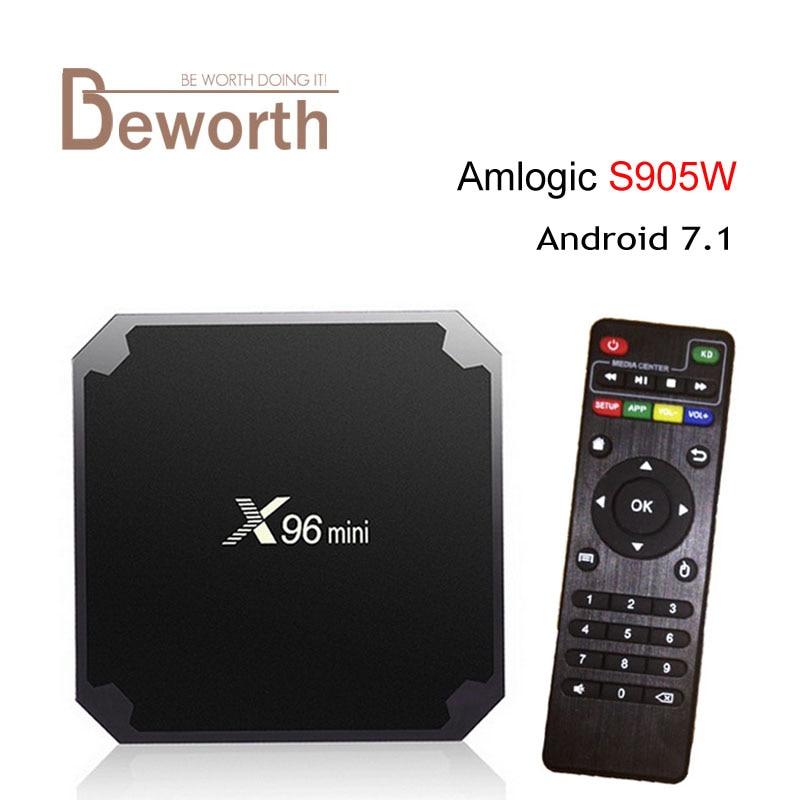 10 pz Amlogic S905W X96 Mini Android 7.1 Smart TV BOX 1G/8G 2G/16G 2.4G WIFI H.265 VP9 UHD HDMI 2.0A KDplayer 17.3 Media lettore