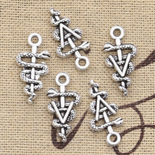 Tibetan Jewelry Caduceus Findings Charms Pendants Diy Snake-Scepter Making Silver-Color