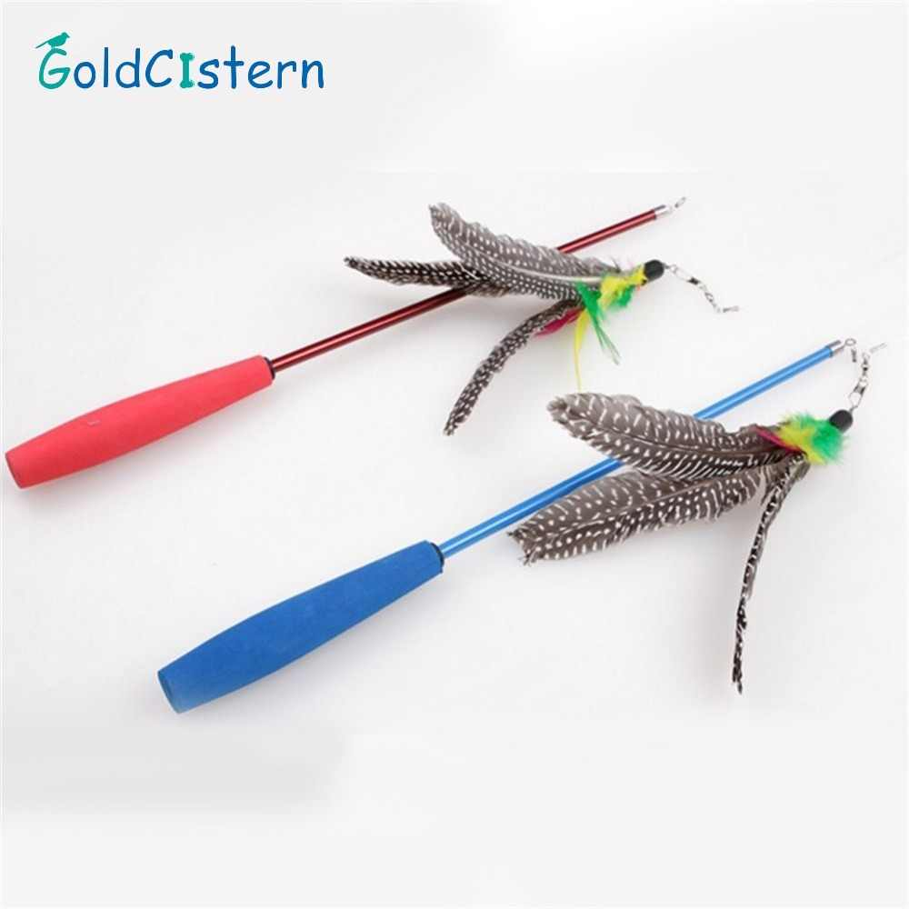 90cm Tease Cat Sticks Three Sections Stretchable Fishing Rods Cats Trainning Toys Cat Catcher Teaser Rod with Feathers