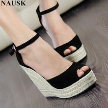 a84893a5fd NAUSK Fashion Superior Quality Comfortable Bohemian Wedges Women Sandals  For Ladies Shoes High Platform Open Toe