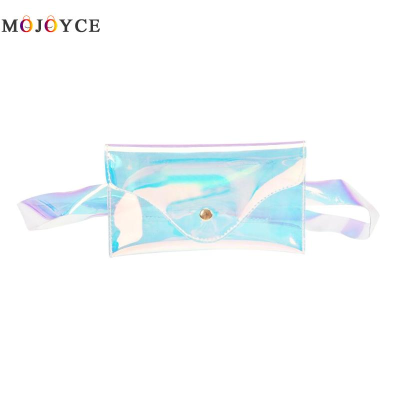 Women PVC Transparent Waist Packs Lady Hologram Laser Fanny Pack Envelope Clear Belt Bag Heuptas Pochete 2015 vintage hologram bag folding hand strap zipper day clutch bag laser hologram envelope bag