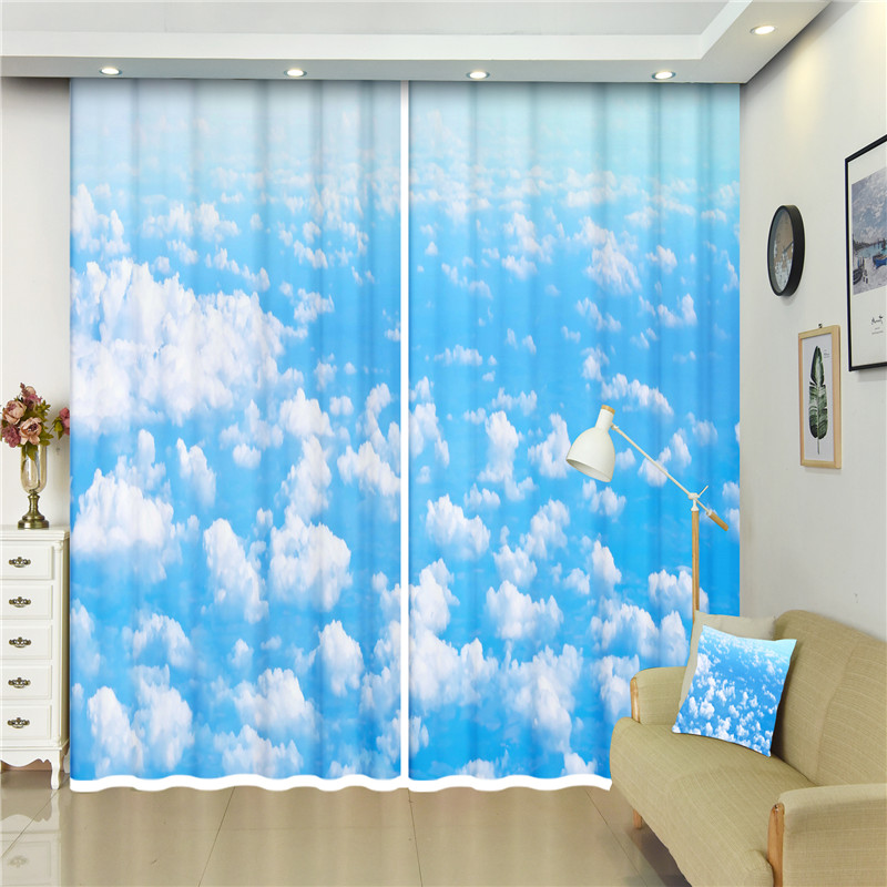 3D Window Curtains Seagull Flying In Blue Sky For Bedding Room Window Beach Smooth Drape Include 2panel Custom Size Drapes