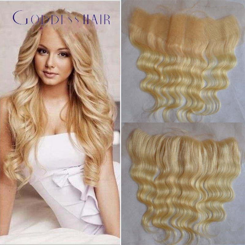 613blonde Lace Frontal Closure With Baby Hair Body Wave Blonde Full