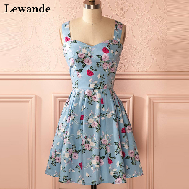 0003505915d Lewande A Line Floral Print Short Homecoming Dress for Graduation College  Sweetheart Pleated Cute Bridesmaid Quinceanera Gown