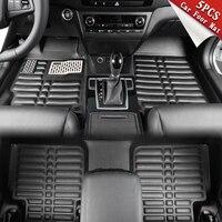 Vehemo 5pcs Black Universal Premium Foot Pad Waterproof Accessories Driver Floor Mat Trucks Auto Carpet FloorLiner