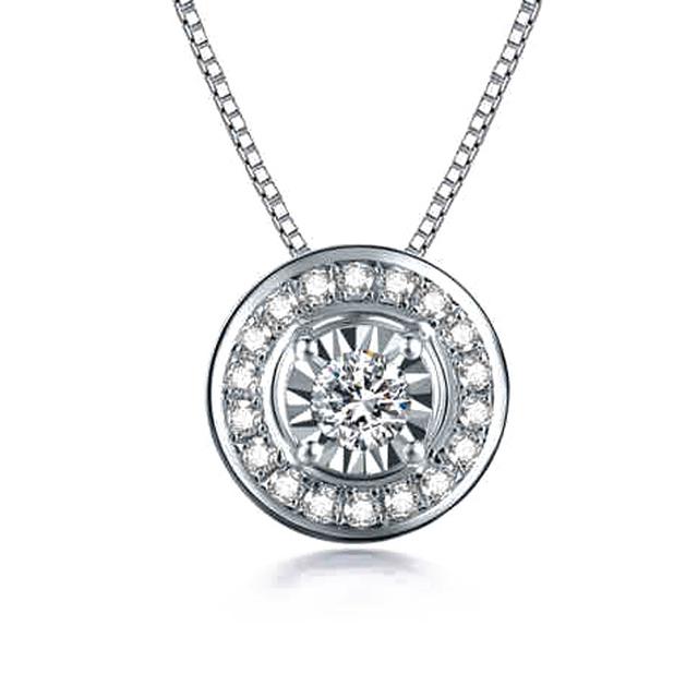 Real Diamond 14K 585 White Gold Engagement Ring