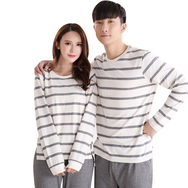 2016 Marca de Manga Larga de Algodón Amantes de Rayas Pijamas Homewear Pijamas Sleepshirts Pijamas para hombres de Las Mujeres Ropa de Moda