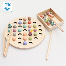 Toy Learning-Toys Montessori Wooden Magnetic Fishing Baby Clip-Bead Puzzle Thinking Multi-Functional
