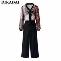 Elegant Chiffon Jumpsuit Overalls Women Black Casual Print Floral Bodysuit Rompers Ladies Long Sleeve Fall 2017
