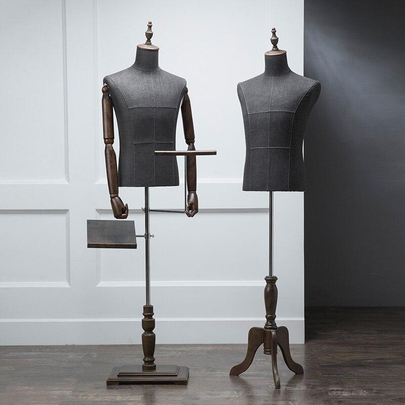 De gama alta negro medio cuerpo paño modelo madera mano hombres ropa maniquí tienda pasarela modelo elevación accesorios traje estante de exhibición - 2