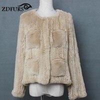 ZDFURS * новый стиль трикотажные кролика рекс меховая куртка короткая женская 4 карман трикотажные О образным вырезом с длинными рукавами курт