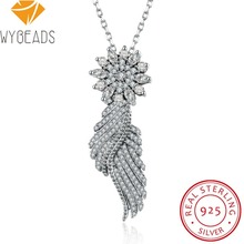 Фотография WYBEADS Fine 925 Sterling Silver Shimmering Feather Style Cubic Zircon Pendants & Necklaces Fit Women Luxury Jewelry Gift N-019