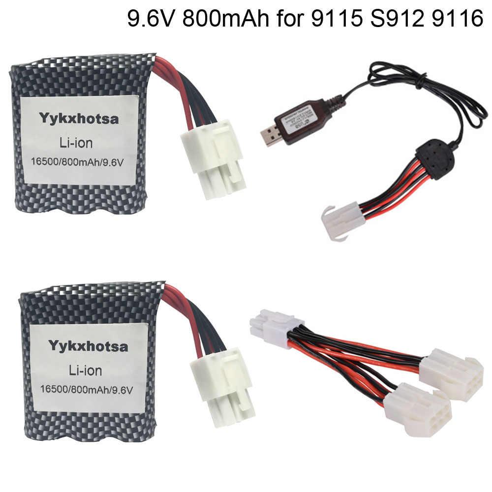 9.6V 800MAh Li-ion Baterai dengan Charger 16500 untuk 9115 S912 9116 High Speed RC Mobil Baterai 9.6V baterai EL6P Plug Gratis Pengiriman