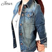 2017 Autumn Denim Jacket For Women Fashion Full Sleeve Female Jacket Slim Spliced Jackets Turn-down Collar Jeans Jacket For Girl