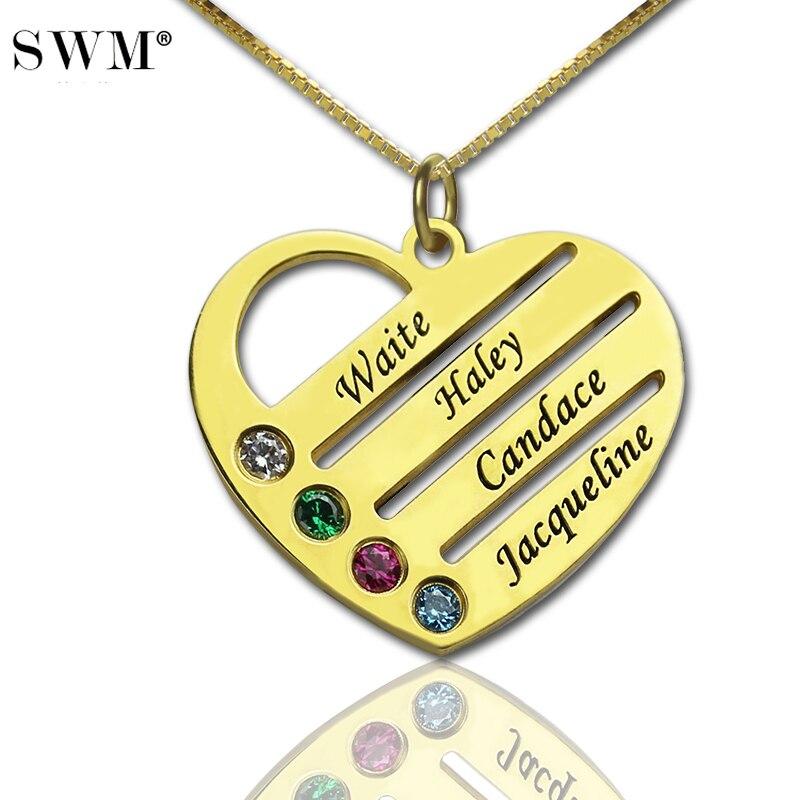 Nome Personalizado Colar de Jóias das mulheres Traje Jóias Colares de Pedra Cor de Ouro Amor Coração Pingente Colar Collares Presente para a Mamãe