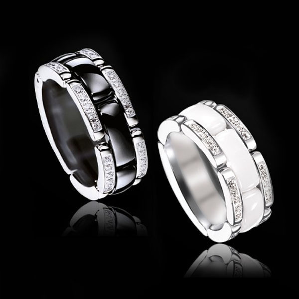 Shell Love Wedding Rings Womens Jewelry Wide Black White Ceramics Lovers Titanium Steel Finger Watch Chain Style Ring