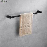 Nordic black towel rack bath towel rack toilet towel bar creative rubber lacquer single pole towel rack bathroom accessories