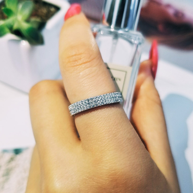 Original Solid Real 925 Sterling Silver Band Eternity Ring For Wedding Engagement Luxury Finger Whole