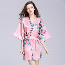 Liva Girl Summer Short Style Women Floral Printed Silk Robes Wedding Bridesmaid Robes Plus Size Women Nightgown 12 Colors(China)