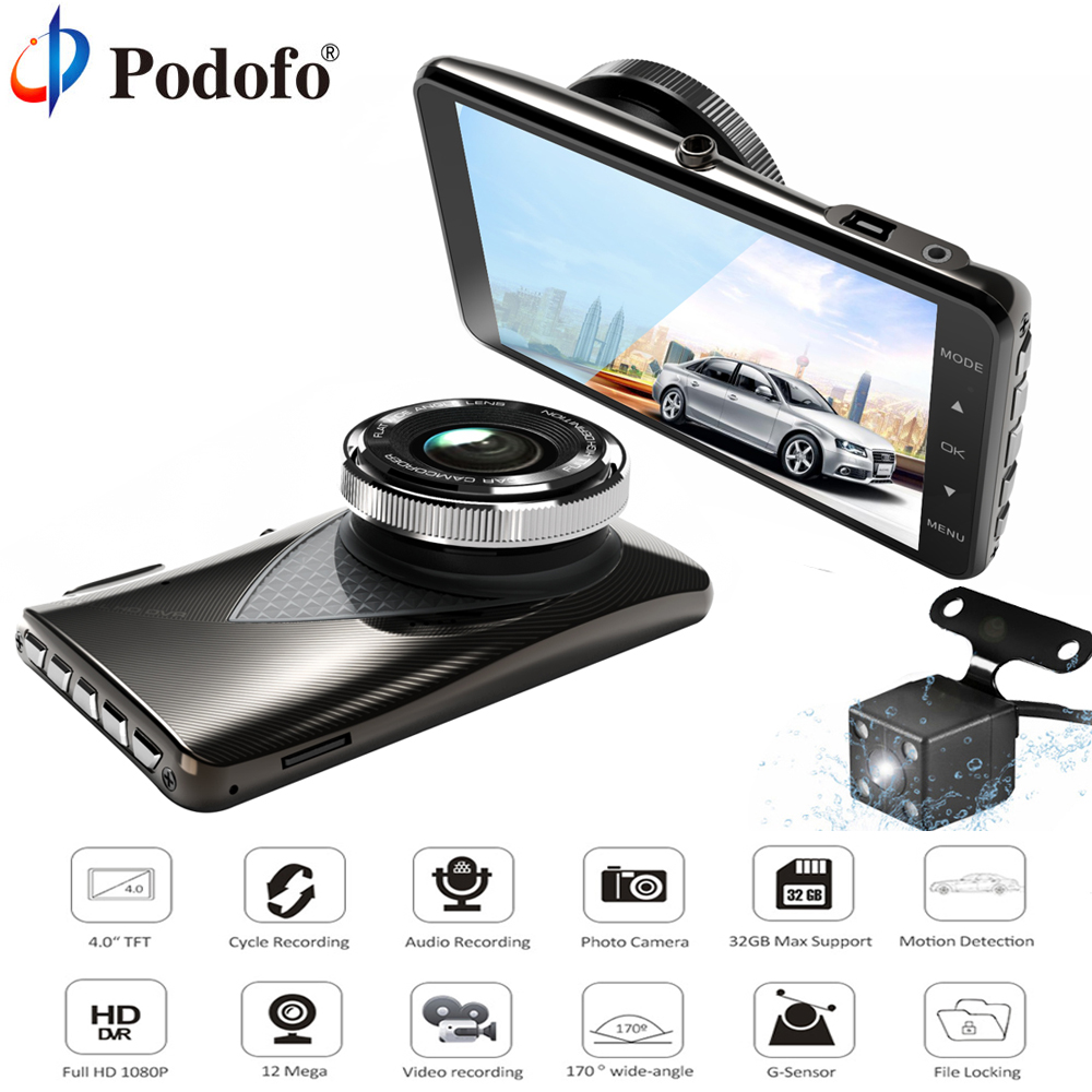 Podofo Car DVR Dashcam 4 FHD 1080P Dual Lens Video Registrator Recorder G-sensor Night Vision Dash Cam Backup Rearview Camera