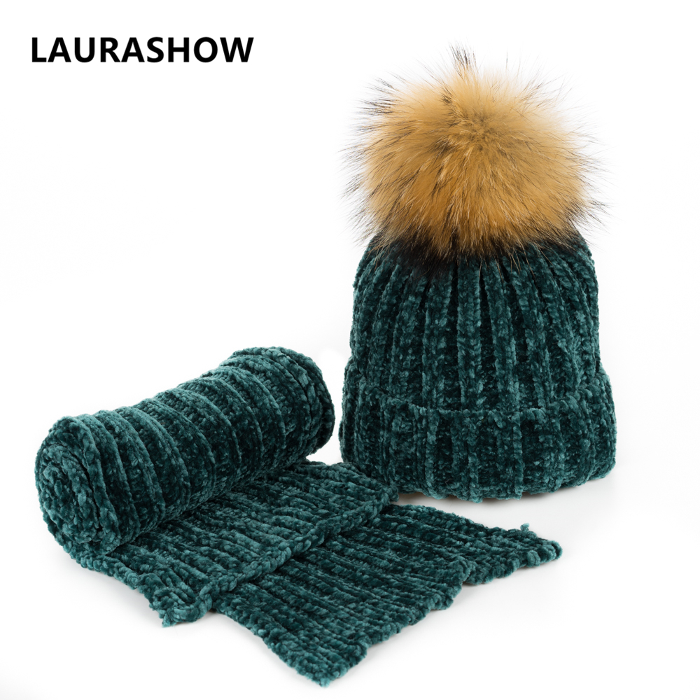 84a5d49f858f6 LAURASHOW Winter Kids Real Mink Raccoon Fur Ball Pompoms Hat Children  Knitted Girls Warm Cap Baby