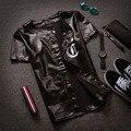 2016 Nueva Moda De Cuero Para Hombre Camiseta de Manga Corta Fresca negro Baseball Jersey 99 Bomber Jacket Casual Hip Hop Streetwear Tops