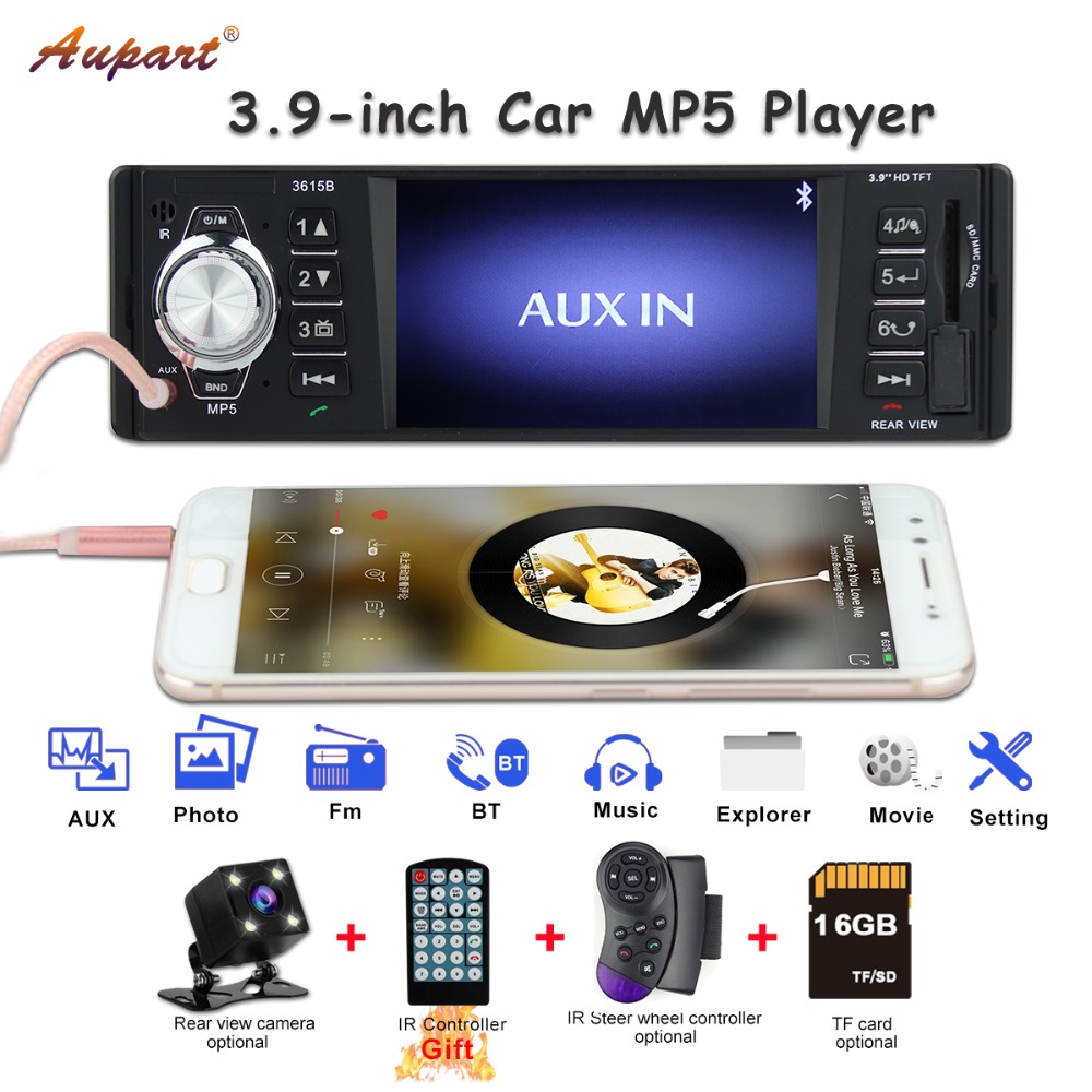 1 din car radio usb for  universal 1din FM Bluetooth stereo audio MP5 player central multimidia rear view camera AUX cars-in Car Multimedia Player from Automobiles & Motorcycles