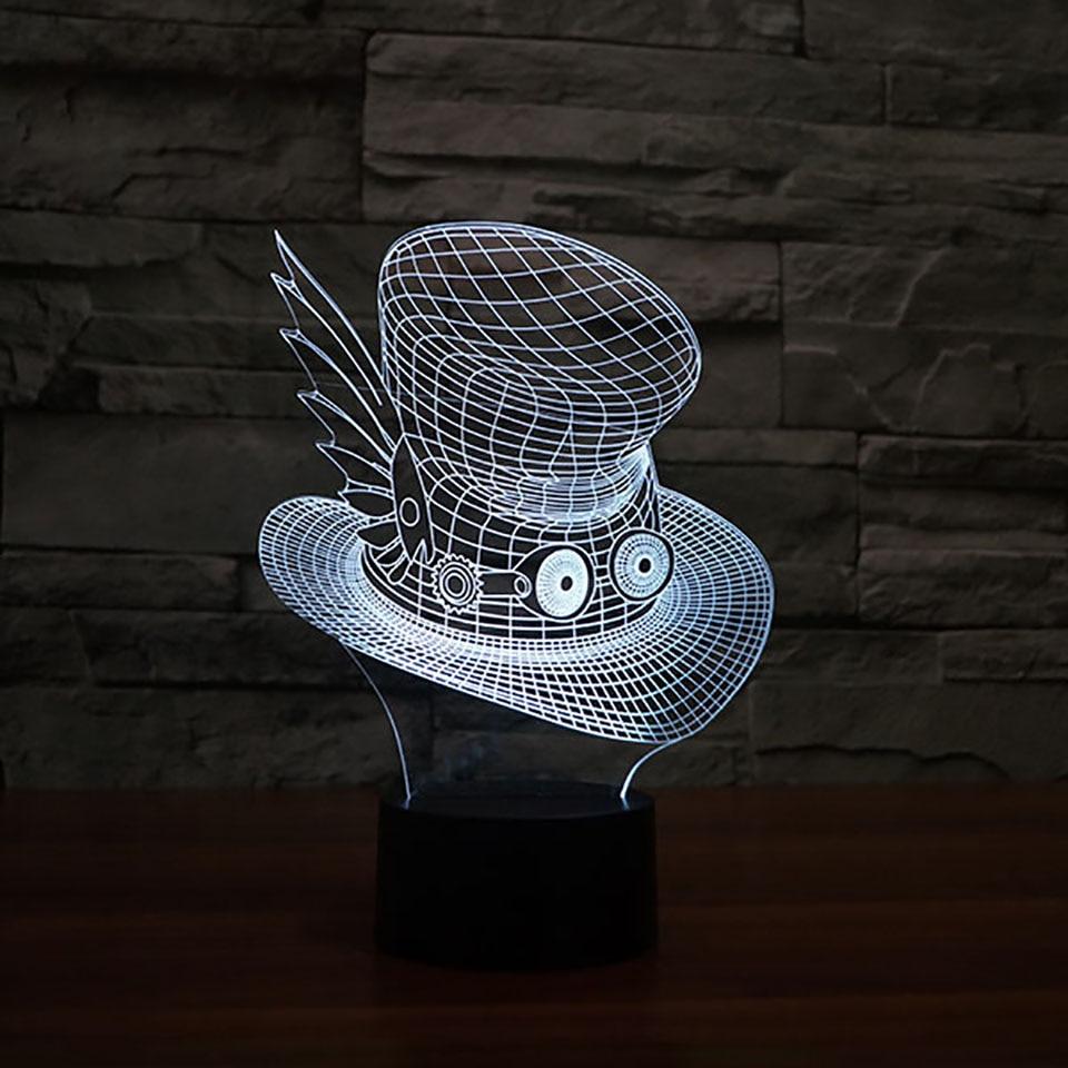 3D Vision Led Creative Big Eye Hat Desk Lamp Usb 7 Color Changing Cartoon Cap Night Light Baby Bedside Sleep Lighting Decor Gift